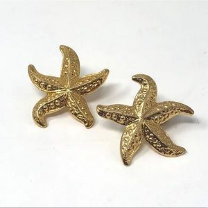 Starfish Pierced Earrings Gold tone